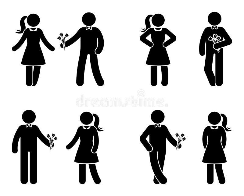 Kij postaci para w miłości ikony secie Mężczyzna daje kwiaty kobieta piktogram ilustracji