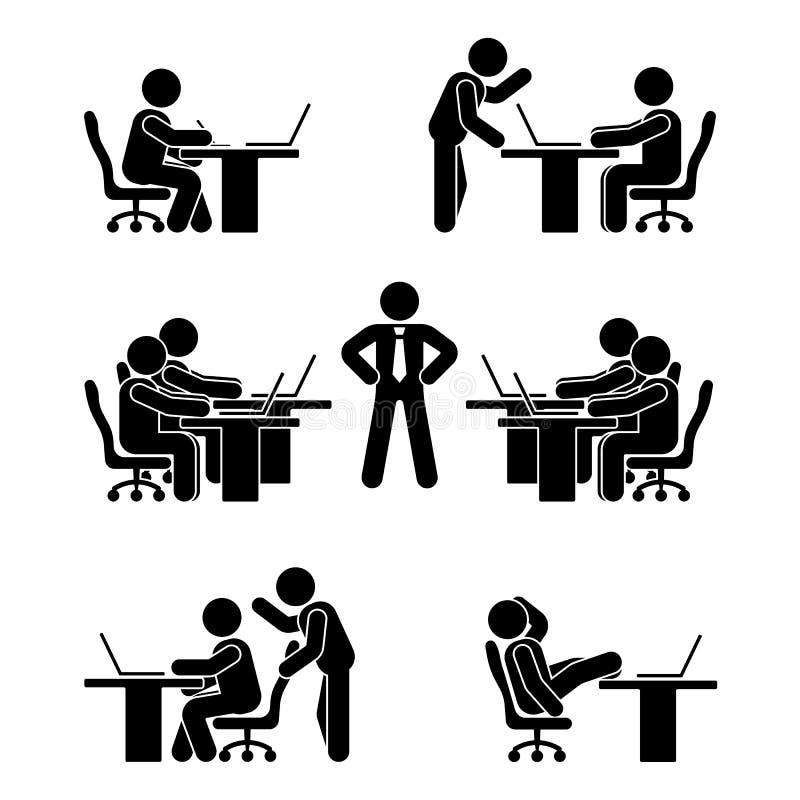 Kij postaci pozy ustawiać Biznesu finanse mapy osoby komputeru osobistego ikona Pracownika rozwiązania wektoru piktogram royalty ilustracja