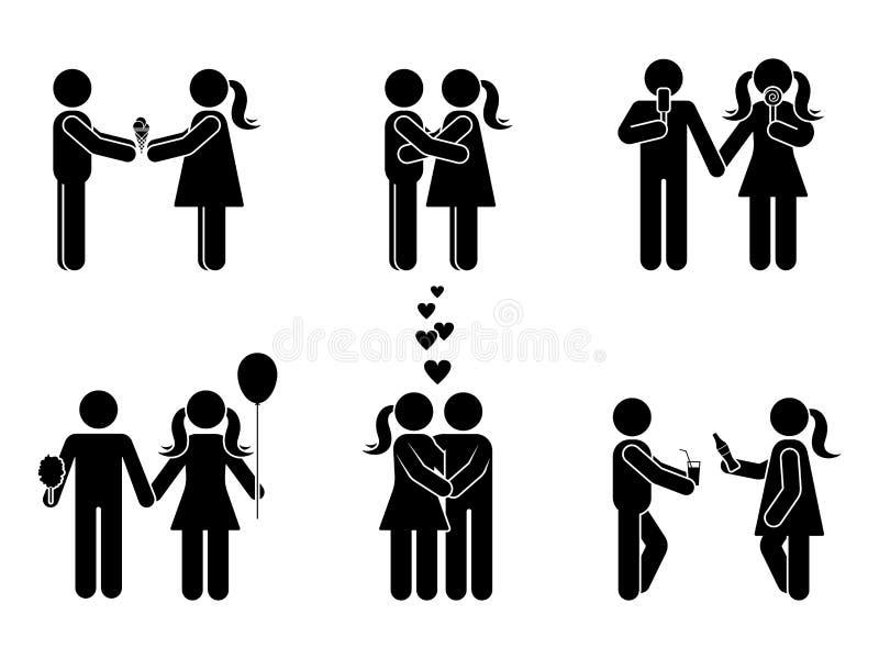 Kij postaci pozyci różny romantyczny set Wektorowa ilustracja samiec i kobieta w miłości ikony symbolu podpisujemy piktogram na b ilustracji