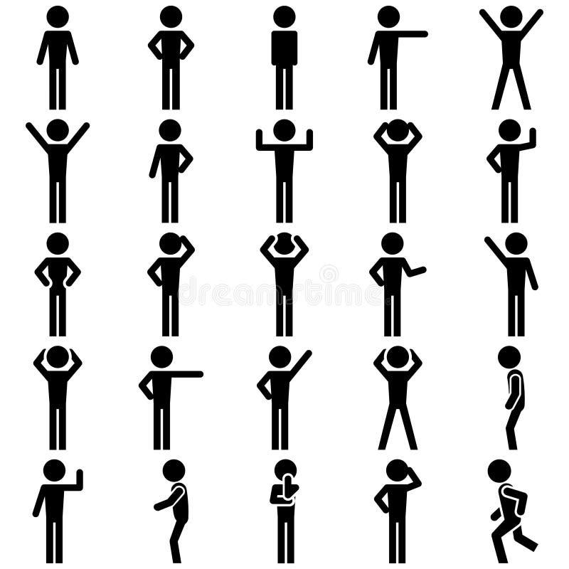 Kij postaci pozycja ustawiająca wektorowa ikona.