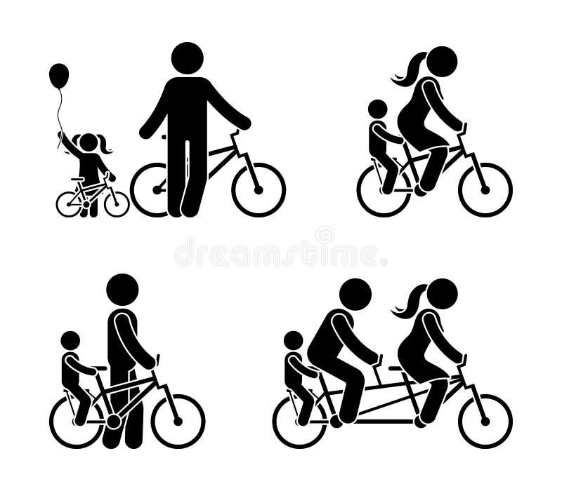 Kij postaci rodzinny jeździecki rowerowy piktogram Szczęśliwy mama, tata i dzieciak plenerowi, royalty ilustracja
