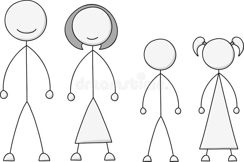Kij postaci rodziny set ilustracja wektor