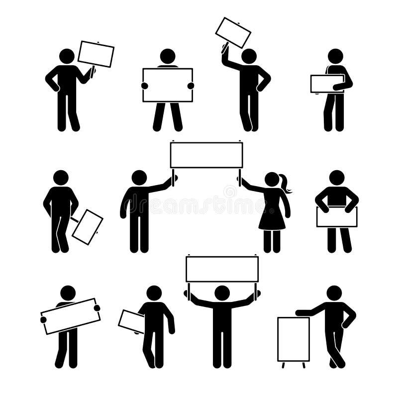 Kij postaci seansu sztandaru pusty set Wektorowa ilustracja ludzie trzyma pustymi na bielu ilustracja wektor