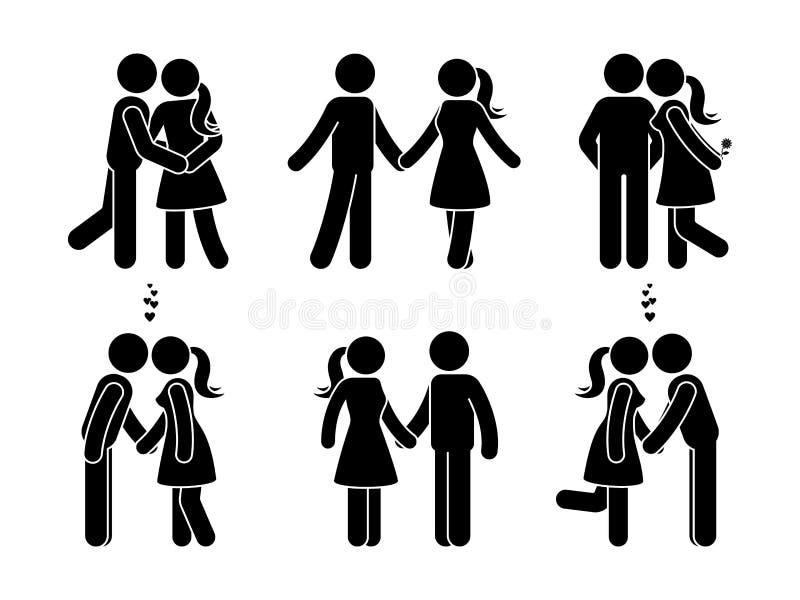 Kij postaci szczęśliwa para w miłości Mężczyzna i kobieta w miłość wektoru ilustraci royalty ilustracja