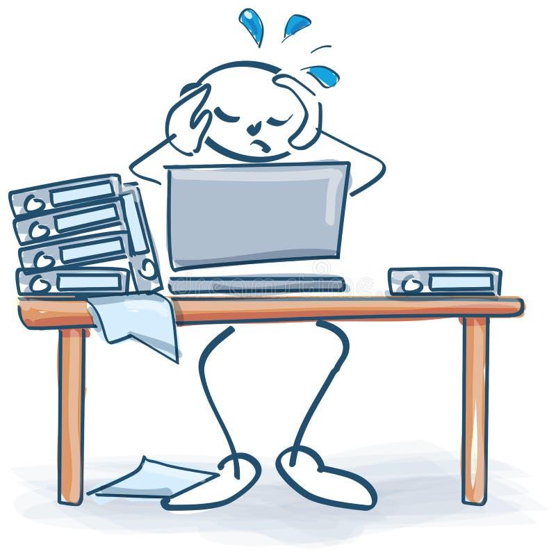 Kij postacie z stresem na praca stołu opłacie przeciążenie royalty ilustracja