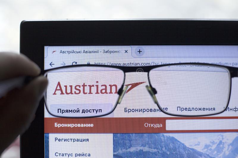 Kij?w, Ukraina 05 17 2019: Austrian Airlines AG ikony Illustrative artyku? wst?pny obraz royalty free
