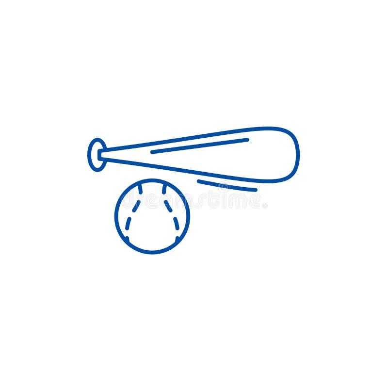 Kija bejsbolowego i piłki ikony kreskowy pojęcie Kija bejsbolowego i piłki płaski wektorowy symbol, znak, kontur ilustracja royalty ilustracja