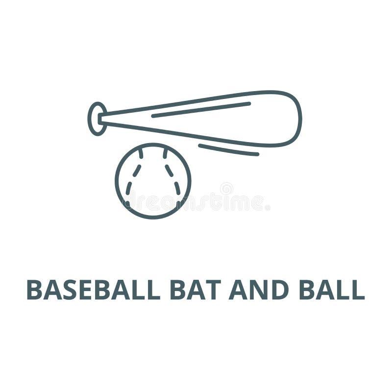 Kija bejsbolowego i piłki kreskowa ikona, wektor Kij bejsbolowy i balowy konturu znak, pojęcie symbol, płaska ilustracja ilustracji