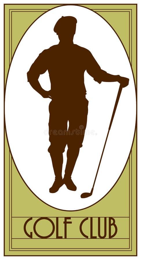 Kija golfowego rocznika emblemat, logo, golfista, golfowy logo, odznaka ilustracja wektor