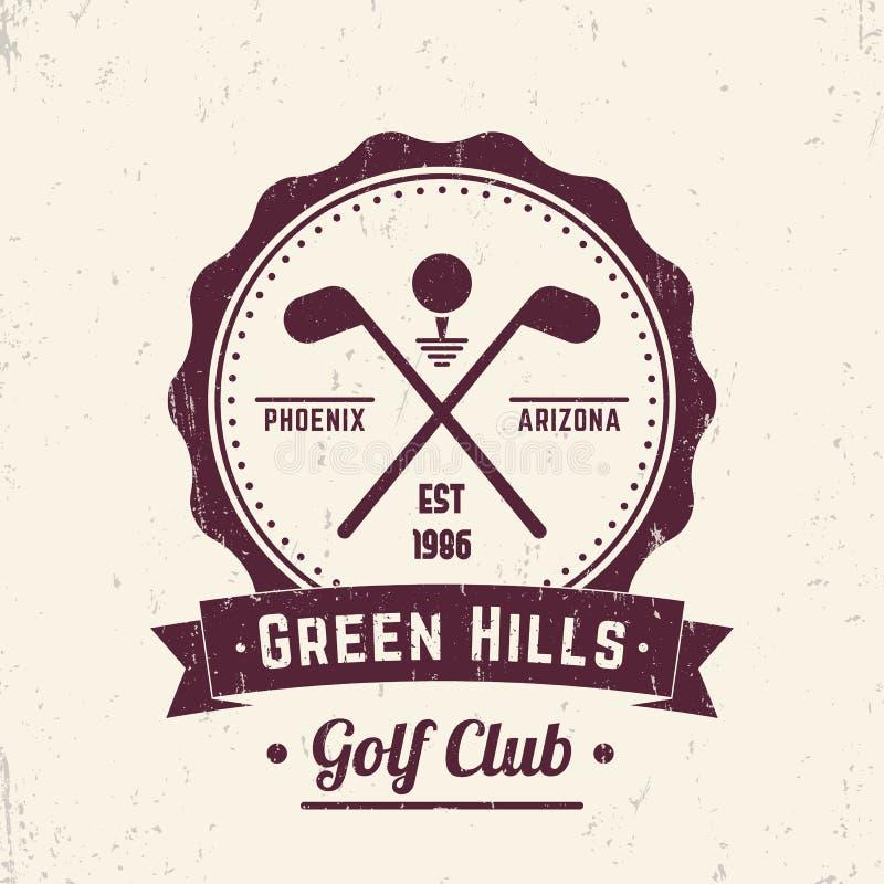 Kija golfowego rocznika logo, emblemat, odznaka ilustracja wektor