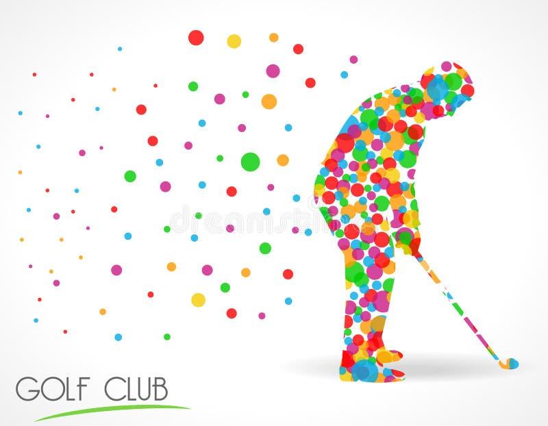 Kija golfowego znak, kija golfowego turnieju pojęcie, płaska koloru okręgu stylu grafika royalty ilustracja