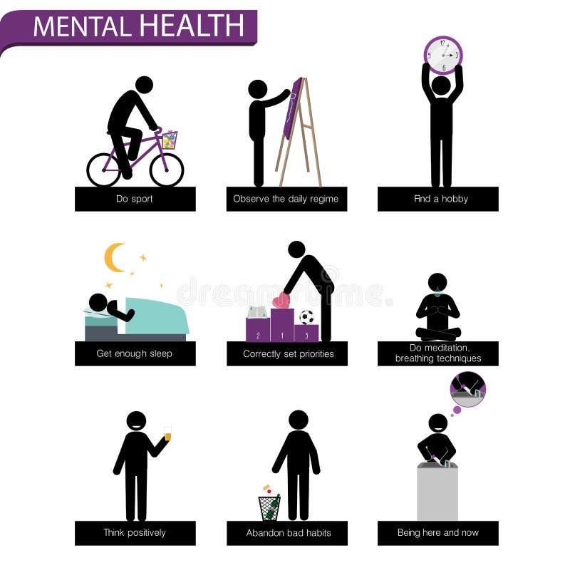 Kija mężczyzna set Reguły dla zdrowie psychiczne ilustracja wektor