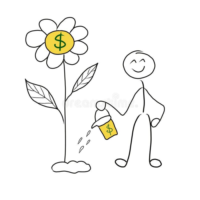 Kija mężczyzny pieniądze inwestycji pojęcie Inwestycja płaci daleko Stickman podlewania kwiat dokąd pieniądze r ilustracja wektor