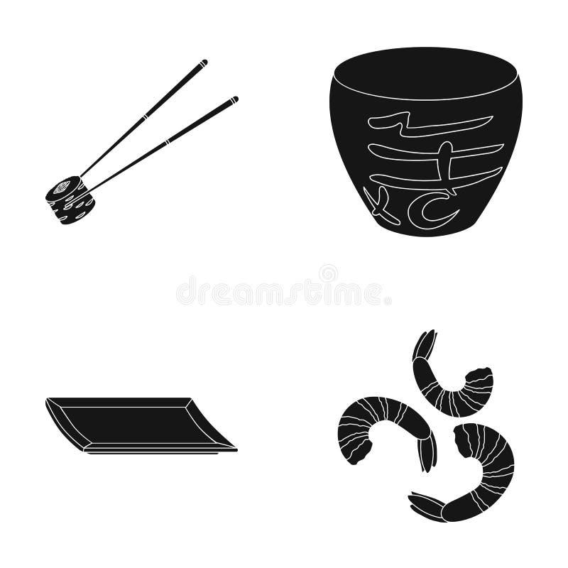Kije, garnela, substrat, puchar Suszi ustalone inkasowe ikony w czerń stylu wektorowym symbolu zaopatrują ilustracyjną sieć royalty ilustracja