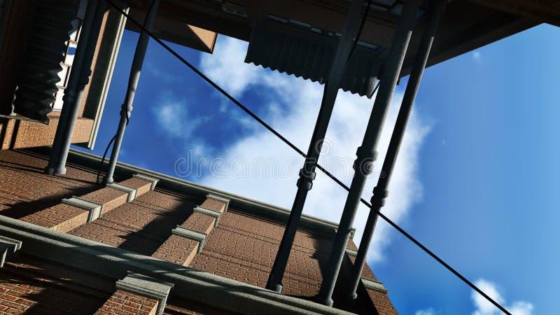 Kijk omhoog van backstreet aan blauwe hemel royalty-vrije illustratie