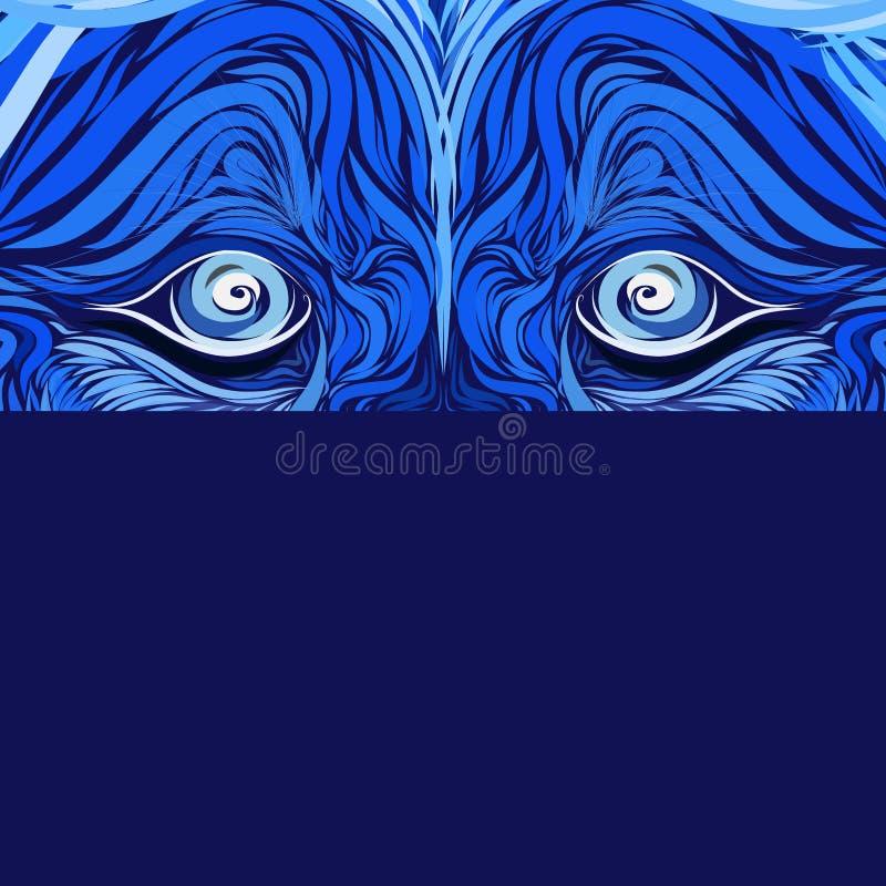 Kijk roofdier, blauwe mystieke achtergrond met leeuwogen, creatief patroon vector illustratie