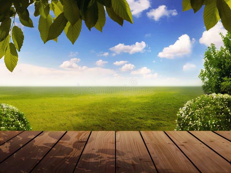 Kijk van een tuin aan de horizon stock fotografie