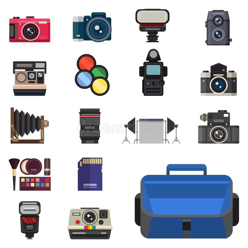 Kijken de optische lenzen van de camerafoto geplaatst verschillende types de objectieve retro beroeps van het fotografiemateriaal royalty-vrije illustratie