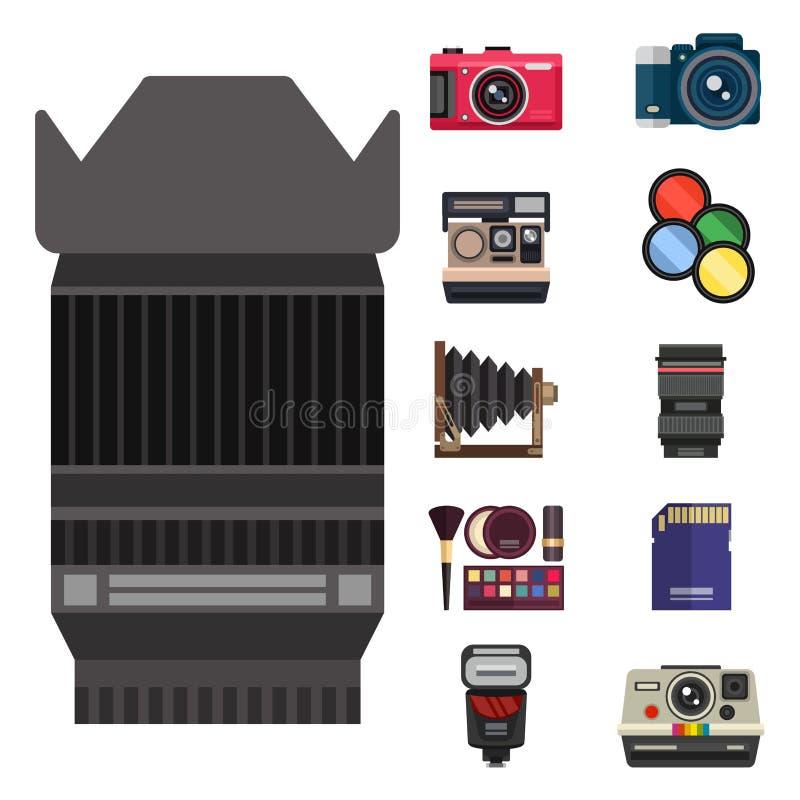 Kijken de optische lenzen van de camerafoto geplaatst verschillende types de objectieve retro beroeps van het fotografiemateriaal stock illustratie