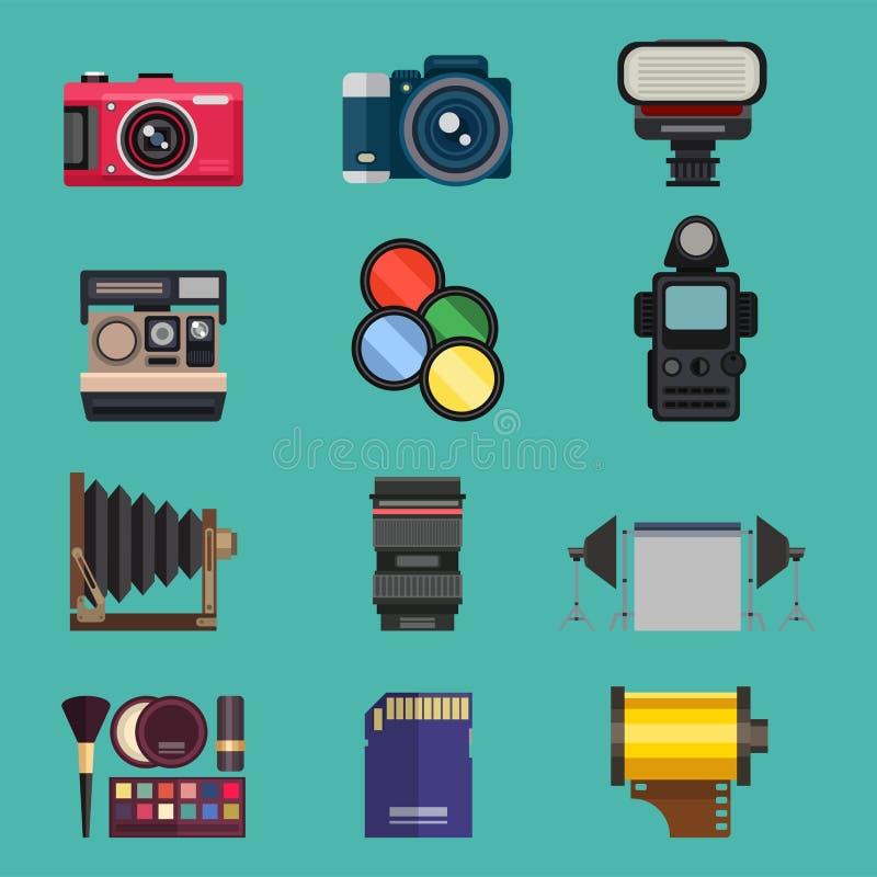 Kijken de optische lenzen van de camerafoto geplaatst verschillende types de objectieve retro beroeps van het fotografiemateriaal vector illustratie