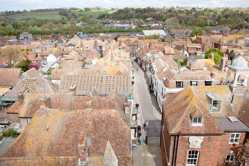 Kijkend over de daken van historictown van Rogge in Oost-Sussex, Engeland royalty-vrije stock foto's