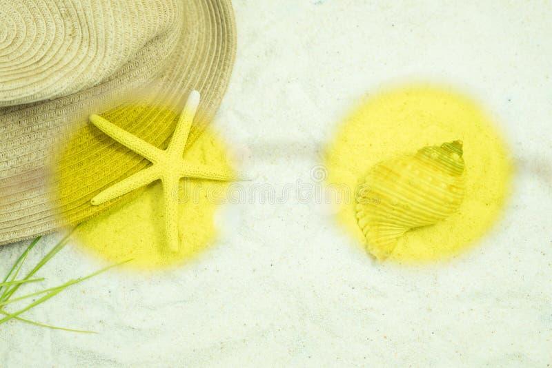 Kijkend paszonnebril zie zeester en hoed op zandstrand royalty-vrije stock afbeeldingen