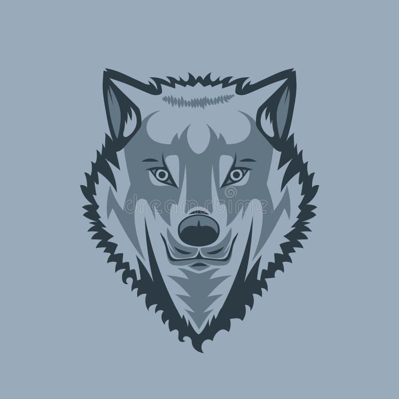 Kijkend rechtstreeks de Witte stijl van de Wolfstatoegering vector illustratie