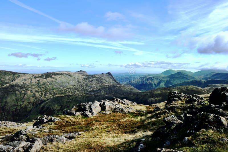 Kijkend zuiden van Allen Crag royalty-vrije stock foto's