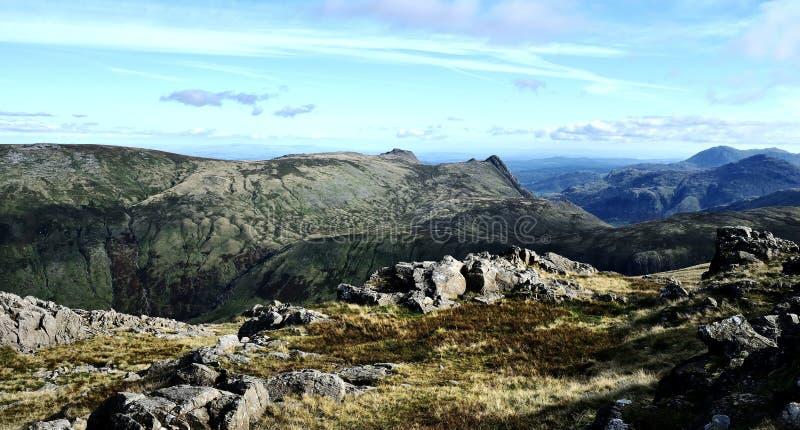 Kijkend zuiden van Allen Crag stock afbeeldingen