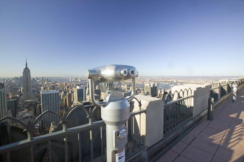 Kijkerswerkingsgebied om panorama van de Stad van New York vanaf Bovenkant ï ¿ ½ van het het bekijken ½ van Rockï ¿ gebied op Roc stock fotografie