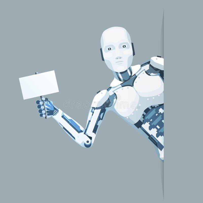 Kijkt de affiche in hand androïde robot uit van de de technologiescience fiction van de hoek de online hulp vector van het de ver stock illustratie
