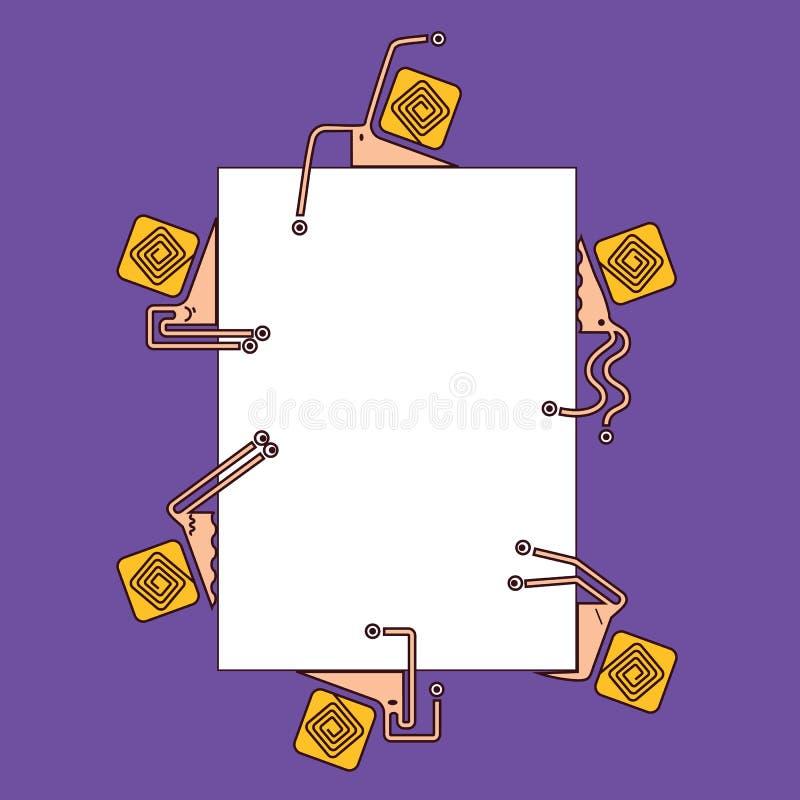 Kijkt de beeldverhaal vlakke geometrische slakken uit van verschillende kanten stock illustratie