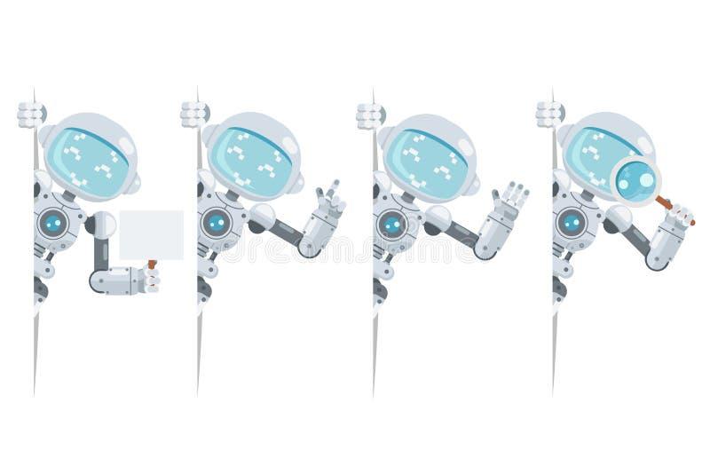 Kijkt de leuke androïde robot van de jongenstiener uit van de de informatieinterface van de hoekintelligentie kunstmatige futuris royalty-vrije illustratie