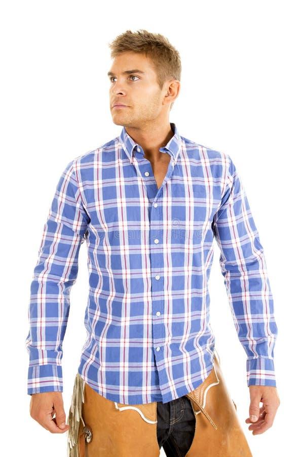 Kijkt het blauwe overhemd van de cowboyplaid kant royalty-vrije stock fotografie