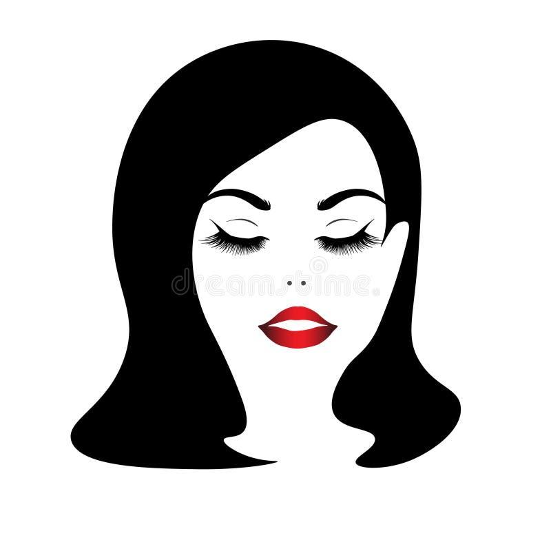 Kijkt het Web mooie meisje in recht, mooi gezicht vector illustratie