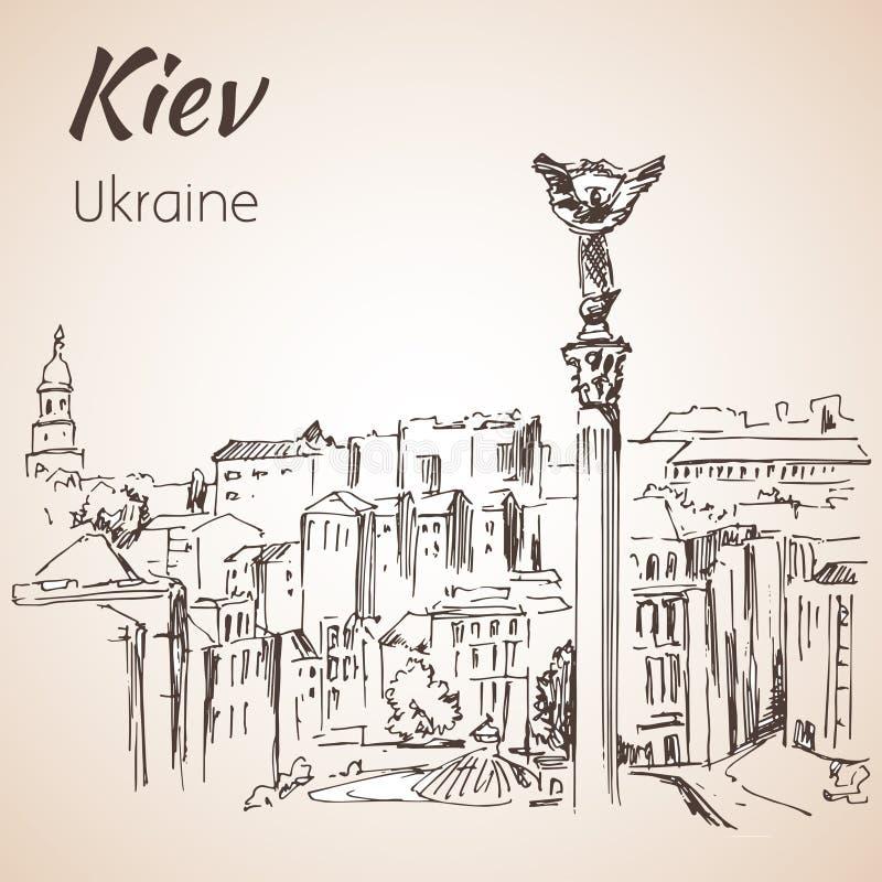 Kijowski niezależność kwadrata majdanu pejzażu miejskiego nakreślenie royalty ilustracja