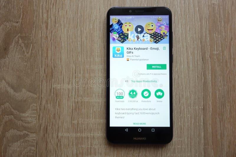 Kika Keyboard app on Google Play Store website displayed on Huawei Y6 2018 smartphone. KONSKIE, POLAND - JUNE 17, 2018: Kika Keyboard app on Google Play Store royalty free stock photo