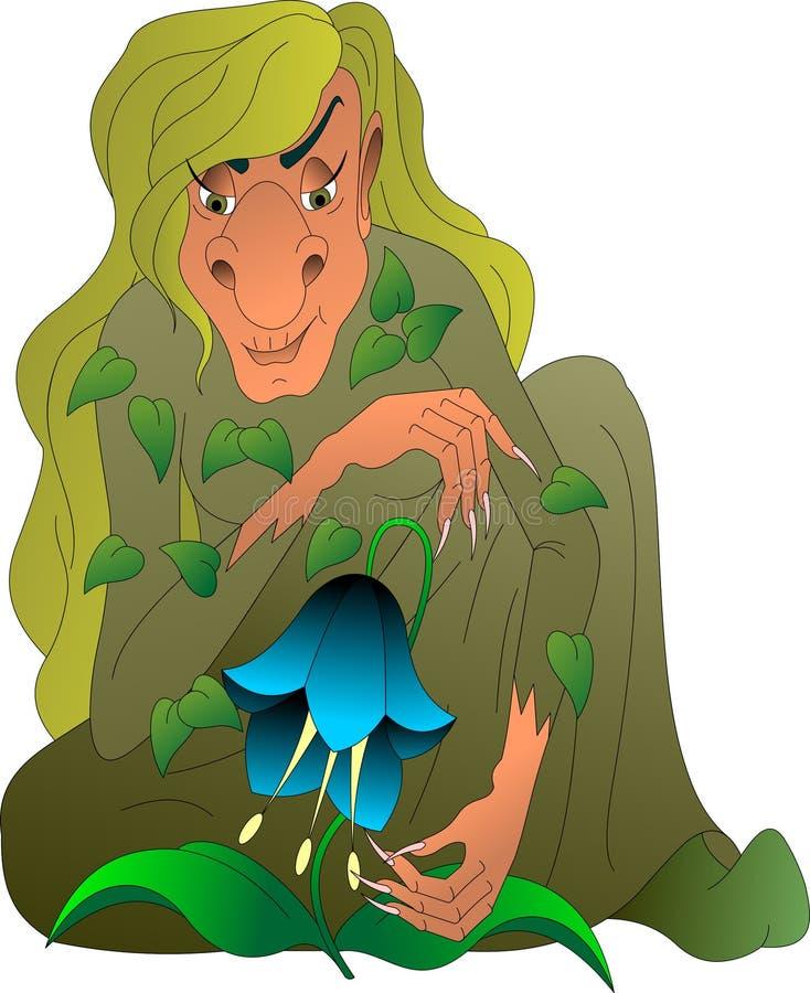 Kikimora z zielonym włosy, czaruje ilustracji