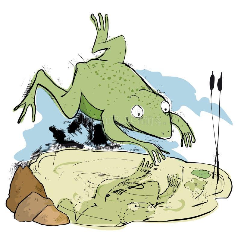 Kikker die in kleine vijver springen vector illustratie