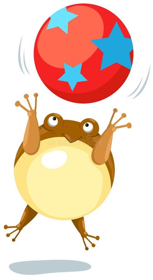 Kikker die met bal springt vector illustratie