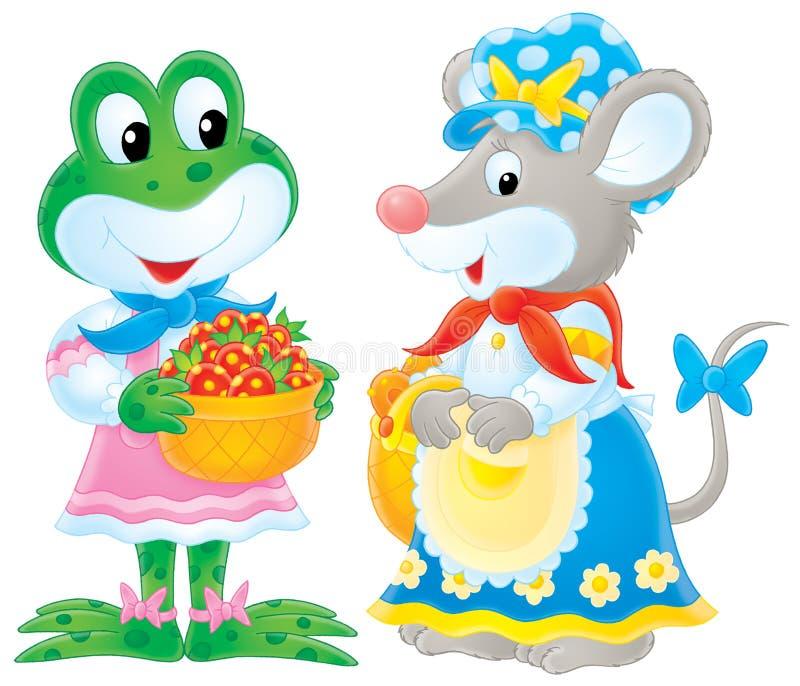 Kikker en muis royalty-vrije illustratie