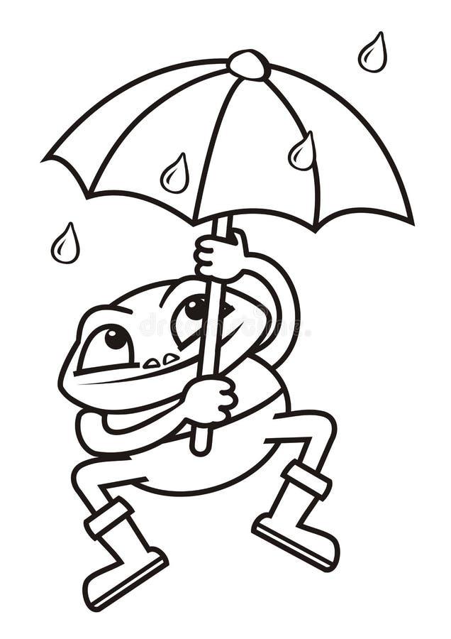 Kikker en paraplu, het kleuren stock illustratie