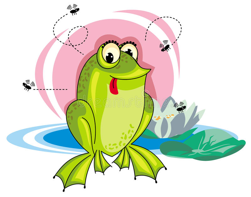 Download Kikker en vliegen stock illustratie. Illustratie bestaande uit insect - 39112915