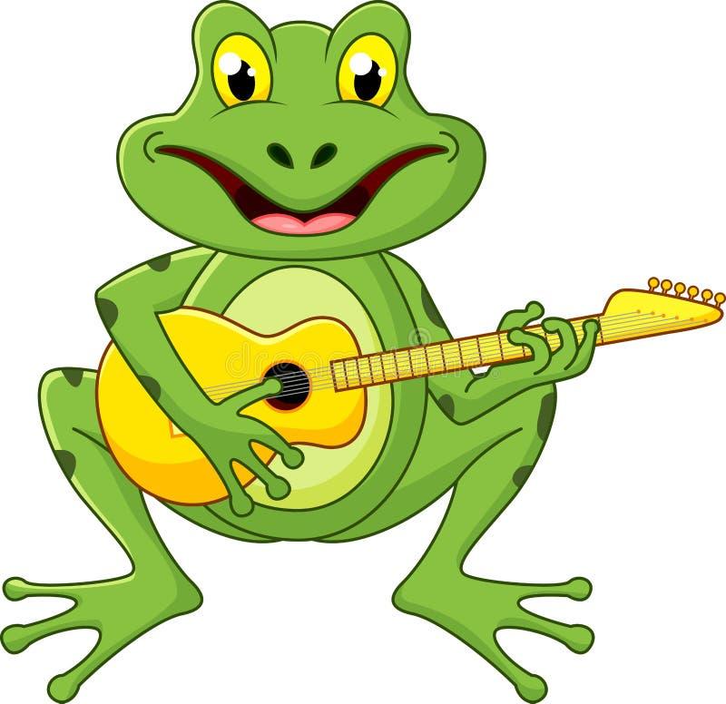 Kikker het zingen met gitaar royalty-vrije illustratie