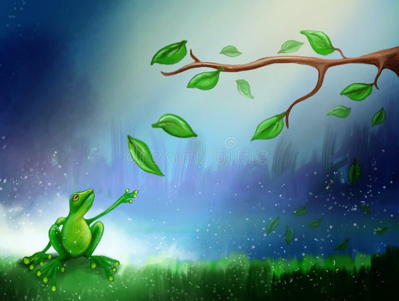 Kikker in moeras stock illustratie