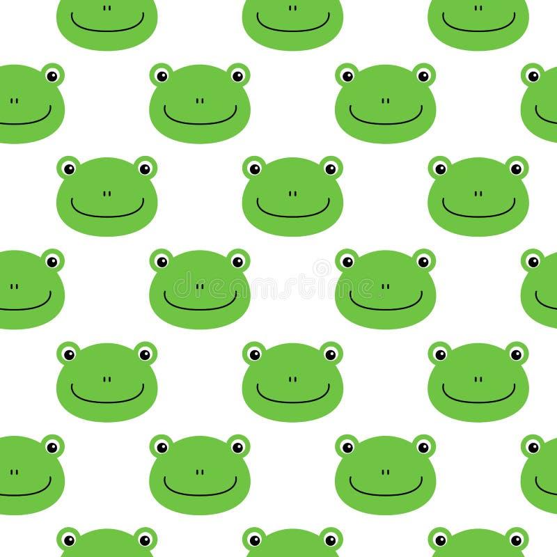 Kikker vectorpatroon, naadloos patroon, de vlakke achtergrond van het kikkerbeeldverhaal stock illustratie