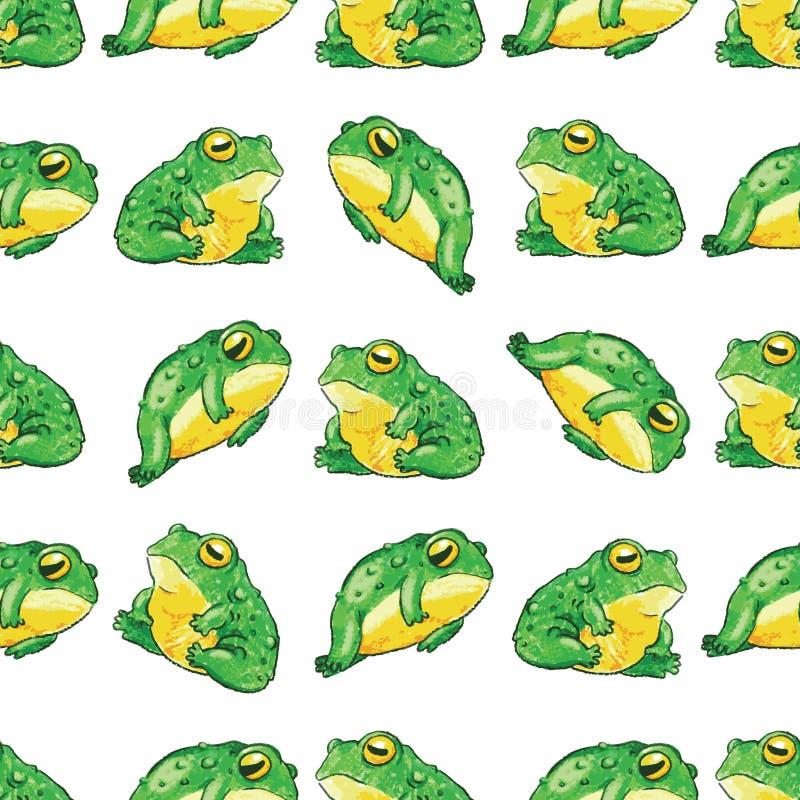Kikker vectorpatroon, naadloos patroon, handdrawn met potlood royalty-vrije illustratie