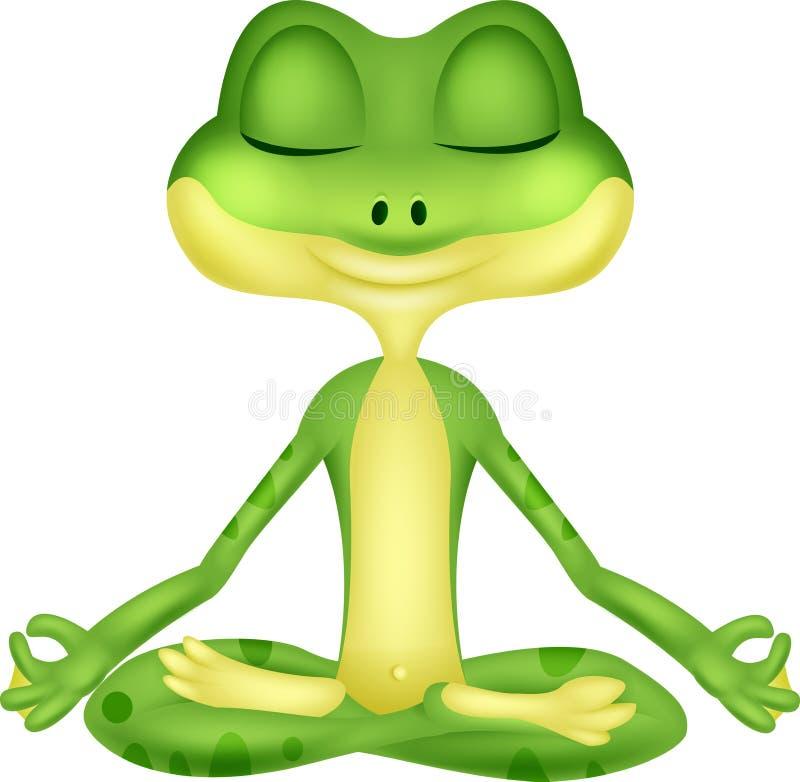 Kikkerbeeldverhaal die yoga doen vector illustratie