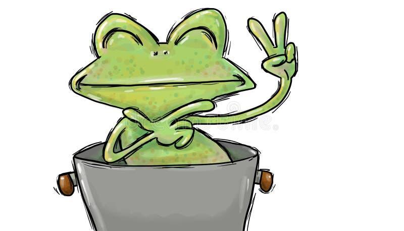 Kikkerpad in een pot met het symbool van liefde en vredesillustratie wordt geplooid die stock illustratie