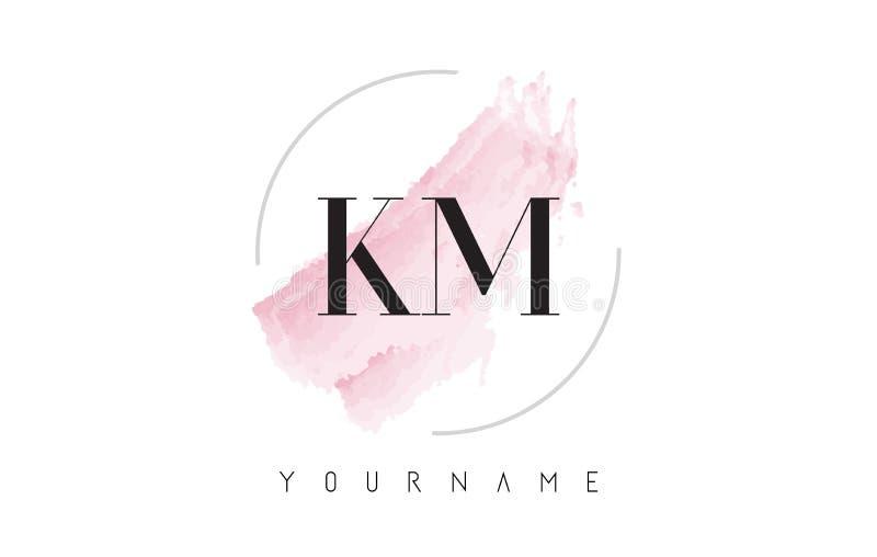 Kilómetro K M Watercolor Letter Logo Design con el modelo circular del cepillo stock de ilustración